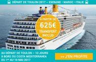 Croisière COSTA MEDITERRANEA départ de Toulon le 01/05/2017