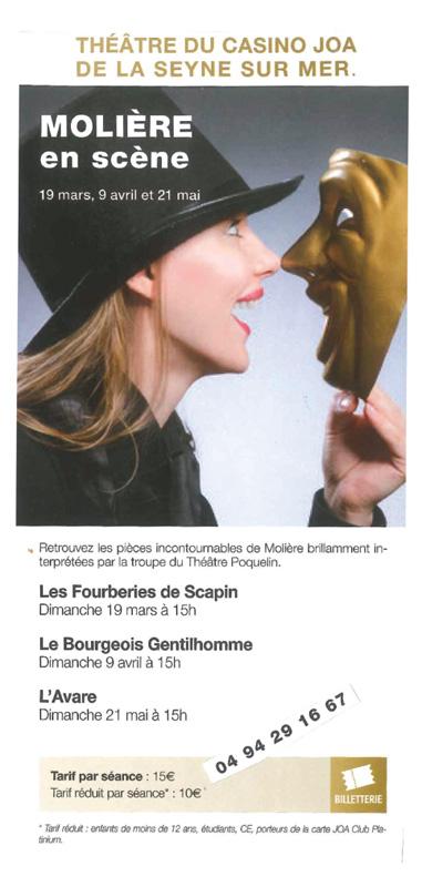 Théâtre du Casino Joa présente Molière en Scène