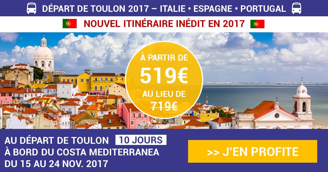 Croisière entre Espagne et Lisbonne au départ de TOULON