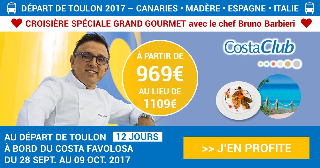 Croisière Grand Gourmet au départ de TOULON avec le chef Bruno Barbieri