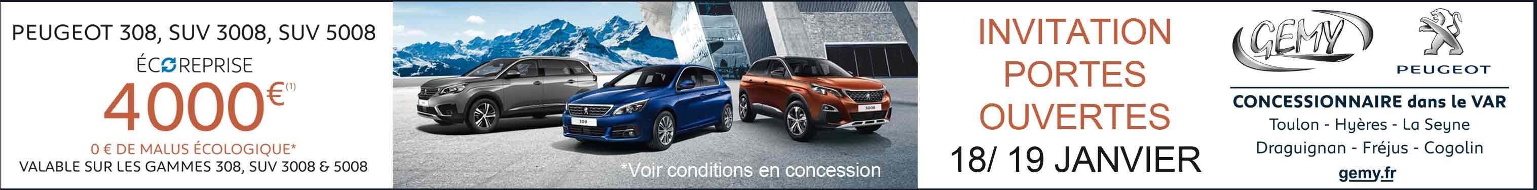 Gemy Peugeot : portes ouvertes les 18 et 19 janvier 2020