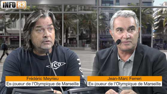 Hommage à Bernard Tapie : Jean-Marc Ferreri et Frédéric Meyrieu, deux ex-joueurs de l'OM.
